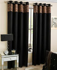 Leopard Black Thermal Blockout Lined Eyelet Ring Top Ready Made Pair Of Curtains
