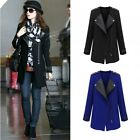 Women Faux Leather Patchwork Zipper Front Trench Coat Overcoat Jacket Outwear