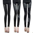 Elegant Sexy Women Fitted PU Leather Splice Legging Pants Tight Pencil Trousers