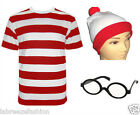 Wheres Mens Boys Red & White Striped T Shirt Outfit Fancy Dress Stag Do
