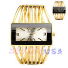 Womens Fashion Gold-tone Wire Cuff Bracelet Bangle Quartz Wrist Watch