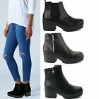 NEW WOMENS LADIES CHUNKY BLOCK GRIP HEEL SOLE CHELSEA ANKLE BOOTS SHOES SIZE 3-8