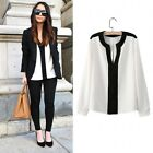 Women Chiffon Black and White Contrast Color V Neck Long Sleeve Blouse Shirt Top