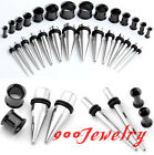 2Pairs Steel Slivery Taper Kit Stretcher + Black Horn Plug Tunnel Ear Expander
