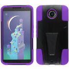 For Motorola Nexus 6 Hard Advanced HYBRID KICKSTAND Rubber Case Phone Cover