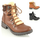 WOMENS FUR LACE UP ANKLE BOOTS LADIES SYNTHETIC LEATHER COMBAT CASUAL SHOES