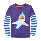Boys Kids cotton long sleeve Purple Shark Tee T-Shirts Tops Baby Toddlers 18M-6T