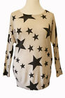 Plus Size 20-32 Beige Black Stars Print Jumper Angora Mix