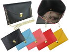 Synthetic Leather Envelope Clutch Handbag with Chain Shoulder Strap