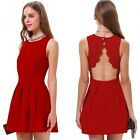 Women Red Cocktail Party Scallop Shape Cutout Back Skater Mini Fit & Flare Dress