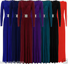LADIES WOMENS FULL SLEEVE BUCKLE MAXI DRESS OCCASION FORMAL EVENING PROM DRESSES