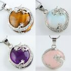 Gemstone Drogan Silver Cap Healing Chakra Cut Crystal Pendant Beads For Necklace