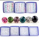 20Pairs/1Box Mixed Color Ladies Rhinestone Plastic Earring Stud Party Xmas Gifts