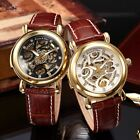 Ks Skeleton Crystal 2 Colors Automatic Mechanical Golden Mens Wrist Watch + Box