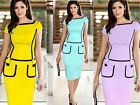 Womens Celeb Vintage Stretch Fitted Bodycon Party Work Sheath Pencil Dress
