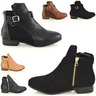 NEW WOMENS CHELSEA ZIP CUT BUCKLE LOW BLOCK HEEL FLAT LADIES ANKLE BOOTS SHOES