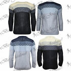 Mens Cable Chunky Knitted Round Neck Knitwear Aztec Warm Full Sleeves Jumper Top
