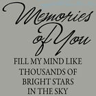 Memories Like Stars Sympathy Memorial Wall Decal Quote Sticker Made in USA