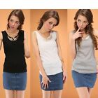 Fashion Women Metal Wings Sleeveless Solid Color Cami Waistcoat Shirt Tops TTDT