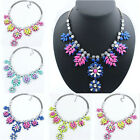 Womens Crystal Resin Flower Leaves Statement Bib Necklace Chunky Choker Collar