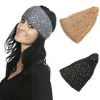 Lady Winter Warm Sequins Knitted Hat Crochet Hair Band Black/Gray/Camel Headwrap