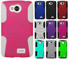 For MetroPCS LG Optimus F60 MESH Hybrid Silicone Rubber Skin Case +Screen Guard