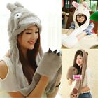 Womens Lady Cool Cartoon Warm Conjoined Coral Fleece Hat With Glove Scarf Shawl