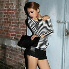 Fashion Women Sexy Off-shoulder Long Sleeve Clubwear Striped Top Blouse T-shirt