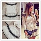 2015 New Arrivals Beautiful Sets Womens Tops & Skirt Lace Floral Sexy Outfits-LJ