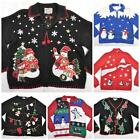 VTG 80s Novelty XMAS Cardigan Christmas Santa Reindeer Jumper/Sweater S/M/L/XL