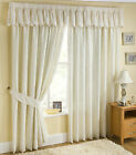 Lace Voile Net Cream Lined Tape Top Pair Of Curtains With FREE Tie Backs