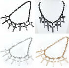 Punk Exaggerate Hollow Dangle Latin Cross Holy Choker Chain Necklace