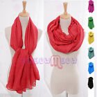 Womens Lady Linen Cotton Long Soft Crinkle Candy Color Voile Scarf Wrap Shawl