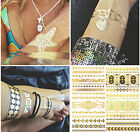 1 Sheet Temporary Metallic Gold Silver Black Flash Tattoo Flash Inspired hot TIM