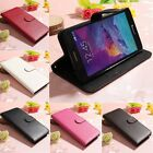 Litchi Flip Leather Card Wallet Case Cover Stand For Samsung Galaxy Note 4 N9100