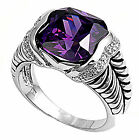 3CT Amethyst DESIGNER Fashion COCKTAIL .925 Sterling Silver Ring Size 6-10
