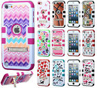 For iPod Touch 5 5th Gen Rubber IMPACT TUFF HYBRID KICK STAND Case +Screen Guard