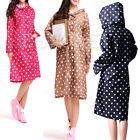 Women Girls Outdoor Waterproof Raincoat Cute Dot Rainwear Rain Riding Clothes
