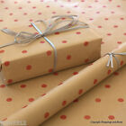 Red Spots Patterned Kraft Brown Wrapping Paper 5 or 10 mtrs Vintage Style Wrap