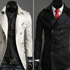 New Winter Men Wool Double-Breasted Hooded Trench Coat Long Overcoat Jacket Coat