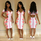 Sexy Womens Bandage Bodycon Dress Floral Vintage Style Sheath Party Dress Summer