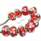 25/125pcs Wholesale Lampwork Flower Dot Charms Spacer Bead Fit European Bracelet