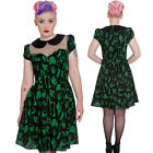 Hell Bunny Verdant Bones Dress Goth Peter Pan Collar Anatomy Punk Gothic Green