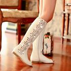 Womens Punk Leather Diamante Hollow Out Peep Toe Zipped Flat Knee High Booties