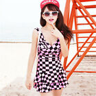 One Piece Sexy Pink Checks Ruched Siamese Swimdress Swim Dress Swimsuit Tankini