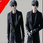 Mens Casual Slim Fit Zipped Trench Wool Blend Long Coat Jacket Outwear Parka
