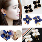 Fashion women Elegant Cute Lady Girls Blue Flower Crystal Ear Stud Earrings