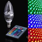 3W RGB LED Light Bulb Candle Light 16 Colors AC85-265V with Remote Control #F8s