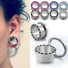 Pair CZ Gem Rim Steel Ear Flesh Tunnels Double Flares Screw Gauges Plugs Jewels