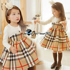 Spring Princess Baby Child Kids Girl Party Classic Plaid White Mixed Dress 2-7Y